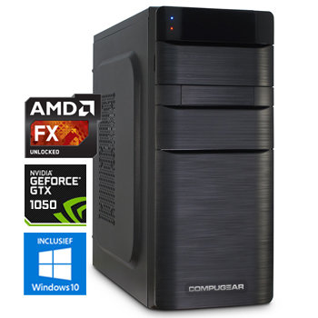 COMPUGEAR Game PC met AMD FX-4300 Quad Core + 8GB RAM + 1TB HDD + GTX 1050 2GB + Windows 10