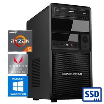COMPUGEAR Premium PR3400G-8SH (met Ryzen 5 3400G, 8GB RAM, 120GB SSD en 1TB HDD)