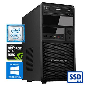 COMPUGEAR Deluxe DC8700-16SH-G1050 (met Core i7 8700, 16GB RAM, 240GB SSD, 1TB HDD en GTX 1050)